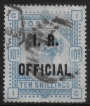Great Britain  SG.O10  10s ultramarine  overprinted I.R. OFFICIAL  used