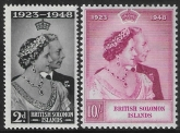 British Solomon Is. - 1948 Royal Silver Wedding. SG.75-6  mounted mint. (cat. value £10.50)