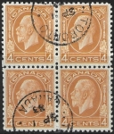 1932 Canada  SG.322 4c yellow brown. block of 4 very fine used.