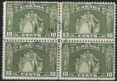 1934 Canada  SG.333 10c olive green block of 4 very fine used.