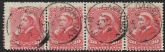 1893  Canada SG.115  20c vermilion. strip of 4 fine used. (minor damage on left stamp)